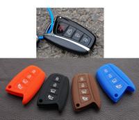 accent accessories - silicon car key fob remote case cover set skin for hyundai solaris ix35 ix45 accent santa fe Tucson button protect accessories