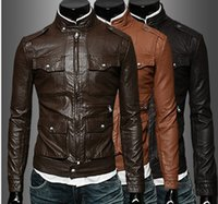 Wholesale Fall new arrived famous brand high quality leather simple casual man leather coat