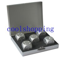 Wholesale in1 silver Aluminum Alloy Drinking Game Dice Set Portable Noble Metal Case Gambling Poker Chips Bar Party Dominoes Mens Gift