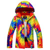 Wholesale New Women Ski Jacket Flower Windproof Waterproof Snowboard Outdoor Sport Skiing Clothing Super Warm Thicken Flower Coat Fashion Jacket