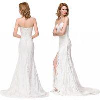 Wholesale 2017 Mermaid Sweetheart Lace Wedding Dresses Real Photos Split Bridal Party Guest Dresses Summer Beach Bohemian Bridal Gowns BZP0903