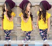 baby silk coats - 2016 Baby Girls Ruffle Tank Blouses Sets Suits Tutu Coat Pants Summer Kids Shirt Formal Clothing Wide Leg Pants Children Clothes