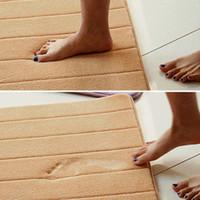 Wholesale 5 Colors Water absorb Floor Bath Mat Toilet Room Memory Foam Coral Fleece Anti slip