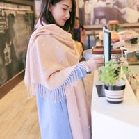 beads nail color - Manual Nail Bead Scarfs For Women Fashion Scarf Pashmina Winter Warm Shawls Women Scarfs High Quality Lady Solid Color Scarfs Twill Fabric