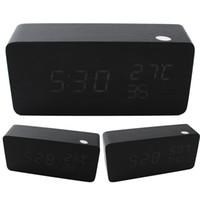 al por mayor relojes de alarma de la vendimia-Relojes de mesa decorativos Control Sensing Alarm Temp calendario tres Display Electrónico LED Reloj Vintage de madera Digital Kuroki blanco