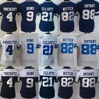 al por mayor las mujeres bryant-El fútbol cosido mujeres # 4 Dak Prescott # 9 Tony Romo # 21 Ezekiel Elliott # 82 Jason Witten # 88 Dez Bryant Orden de la mezcla del envío de la gota de los jerseys