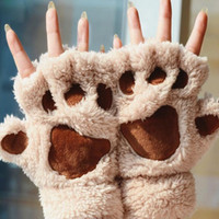 Wholesale Autumn Winter Women s Fingerless Gloves Ladies Mittens Fluffy Lovely Bear Cat Plush Paw Half Finger Mitts Soft Covered Women Female Gloves