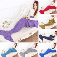 Wholesale Christmas gift Mermaid Tail Blankets Crochet Mermaid Blankets Mermaid Tail Sleeping Bags Cocoon Mattress Knit Sofa Blanket cm