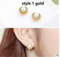 beautiful hipsters - Beautiful flowers stud earrings The fan shell pearl earrings hipster Cats Eys Stone stud earrings