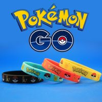 Wholesale 4 Color Poke pokémon go Silicone Bracelets Toys Children Poke Ball Sylveon Pikachu Charmander Bulbasaur Jeni Turtle Bracelets Emerald Ruby