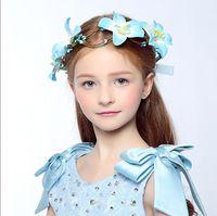 Wholesale 2016 New Handmade Tuiga Woman Girls Flower Garland Wedding Party Bride Children Hair Accessories Sweet Flower Crown Headband Drop Shipping