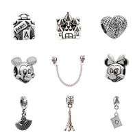 Wholesale 10pcs Of Each Charm Bead Micky Feather Fan Castle Alloy Pendant Silver Plated Fashion Women Jewelry European Style For Pandora Bracelet