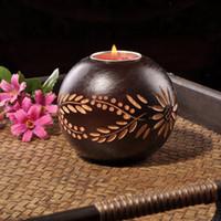 Wholesale SPA salon deco tealight holder houseware deco wooden vase candle holder multifunctional candle holder x9cm