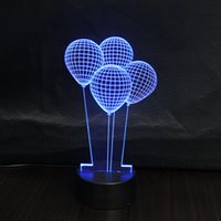air angels - 3D Hot Air Balloon Kid Night Light Colorful Acrylic Bedroom Home Office Lighting Decoration Lamp Table Christmas gift