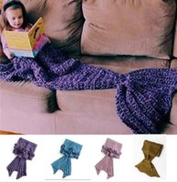 Wholesale 4 Colors Mermaid Fish Tail Blanket Knitted Handmade Children Girls Sleeping Swaddle Air Conditioning Blankets