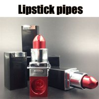 Wholesale Lipstick Smoking Pipes Tobacco Pipes Cigarette Smoking Pipes fashion magic lipstick pipes mini portable pipes metal smoking pipes