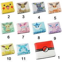 Wholesale Pocket Monster Wallet Poke Purse Eevee Wallets Short PU Purses Pikachu Wallet Carteiras Popular Student Wallets for Children