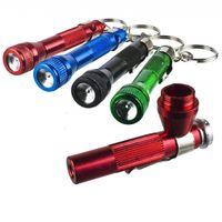 aluminium chains - High Quality Aluminium Flashlight Pipe Aluminium Key Chain Smoking Accessories for Tobacco Pocket Herb Pipe