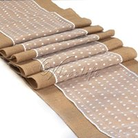 Wholesale 1Piece Top quality Hessian Burlap Fabric Table Runner with White Polka Dot Lace quot x108 quot Wedding Party Event Banquet Home Table Decor