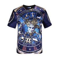 asia tees - Mikeal Hot Selling Men s t shirt d print constellation clown Roman numerals glossy front rayon tops tees slim Asia S XXL