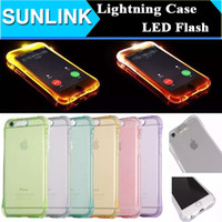 Wholesale Cheap 5s Cases - Cheap TPU+PC LED Flash Light Up Case Remind Incoming Call Cover for iPhone 5S SE 6 6S 7 Plus Samsung S7 S6 Edge Note5 Clear Transparent Skin