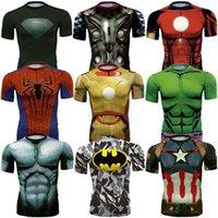 Marvel super heroes España-Nueva camisa cómica de la compresión del super héroe de la maravilla 2016 Camisa del Bodybuilding apretado apto del hombre del hombre del hierro del capitán América del superhombre