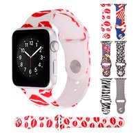 american needle - Apple Watch Band Silicone Strap Watch Bracelets for iWatch mm mm Red Lips American Flag Zebra Print