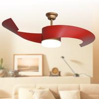 Wholesale 2017 Popular ceiling fans lights led inches cm golde red color two blade ABS fans remote control indoor led ceiling fan V V