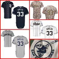 achat en gros de broderie bouclier-2017 New A +++ Quality San Diego Padres Jersey # 33 James Shields Bleu Blanc Gris Camo EMN Baseball Jerseys cool Base, broderie, S ~ 3XL