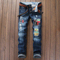 Wholesale Men Holes Fashion Tide Man Directly Canister Self cultivation Youth Wash Male robin Pants Jeans underwear Slim trousers
