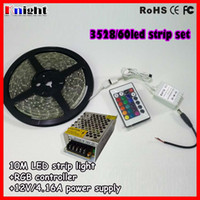 Wholesale smd3528 rgb led strip m set waterproof led strip set IP65 waterproof m led strip light remote controller power adapter free shiping