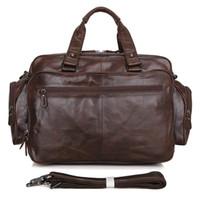 Wholesale Mens Genuine leather bag classic simple briefcase large leather handbag Laptop MacbookPro Bag Chocolate Color Q