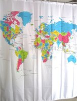Wholesale Shower Curtain World Map Pattern Creative Shower Curtain Bathroom Waterproof Polyester Fabric Inch Hooks
