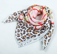 Wholesale 100 pure real silk satin square scar leopard print scarves