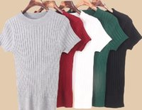 Wholesale 2016 new women s fashion short sleeve solid color thin thread knitted sweater pullover top shirts tunic bodycon sexy tops