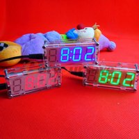 Wholesale DIY Electronic Microcontroller Kit LED Digital Clock Time Thermometer Colors