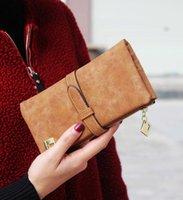 Wholesale 2016 New Fashion Women Wallets Drawstring Nubuck Leather Zipper Wallet Women s Long Design Purse Two Fold More Color Clutch