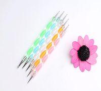 Wholesale New Nail Tool ways Steel Dotting Dot Marbleizing Pen Nail Art Decoration Tool Marble Pen Draw Pattern