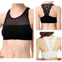 Wholesale New Arrivals Women s Lady s Sexy Tanks Crop Tops Bra Vest Underwear Lingerie Gauze Rayon Black White Fashion EB150