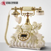 Wholesale Cupid angel statue resin fixed telephone set European IKEA creative romantic vintage corded phone Business Gifts