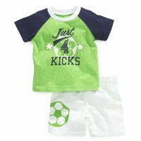 baby soccer clothing - New Arrival Boys Clothing Baby Boys Soccer Clothing Sets Green Football Short Sleeve T Shirt White Pants Children Sports Suit
