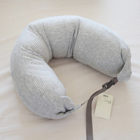 Wholesale 2016 hot sale muji u shaped pillow knitted cotton neck pillow Waist pillow Cervical travel Particle filled pillows