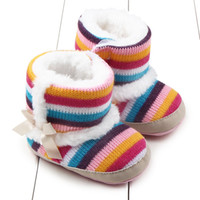 Wholesale New Rainbow Stripes Baby Girls Snow Boots Wool Cotton Warm Children Toddler Sneakers Antislip Footwear Fashion Winter Knitted Boots for BABY