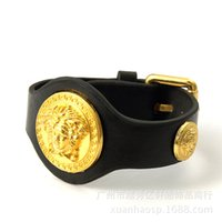 Wholesale Fashion Hip Hop High Quality Jewelry Mens Women Black Leather Bracelets Design Punk Rock Micro Bangles For Sale