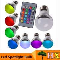 Wholesale New Sale E27 E14 W RGB LED Color Change Light Lamp Bulb Opal Cover Dimmable Led RGB Bulb Light Key Wireless Remote Controller