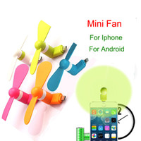 Wholesale Newest Mini Micro USB Fan Portable Fan for Mobile Cell Phone iphone plus colorful DHL Free OTH231
