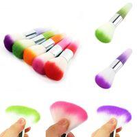 Wholesale 3Pcs UV Nail Gel Powder Nail Dust Brush Colorful Plastic Nail Brushes Makeup Brush Foundation Tools