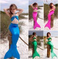 Wholesale set Girls Kids Mermaid Tail Swimmable Bikini Set Swimwear Swimsuit Swim Costume Children Set