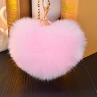 Wholesale 12CM similar Faux heart Rabbit fur key chains heart big size fluffy plush keychain car keyring Bag Pendant