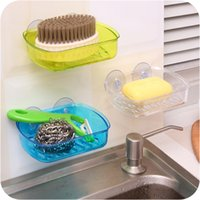 Wholesale Hot soap New wall mounted storage rack Drain Kitchen removable soap dish sucker for bathroom accessories free delivery